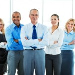 Group of a businesspeople standing together.