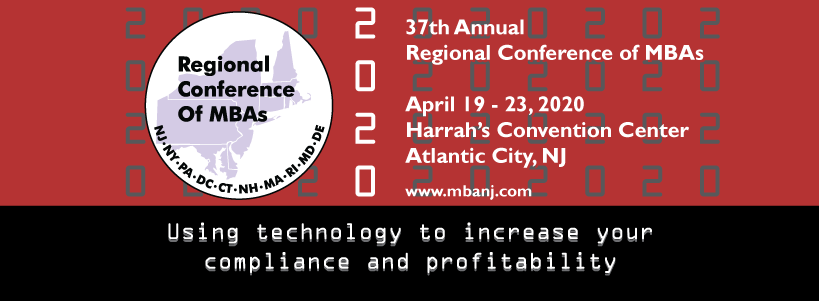 2020 Regional Conference of MBAs logo with black, white, and red colors
