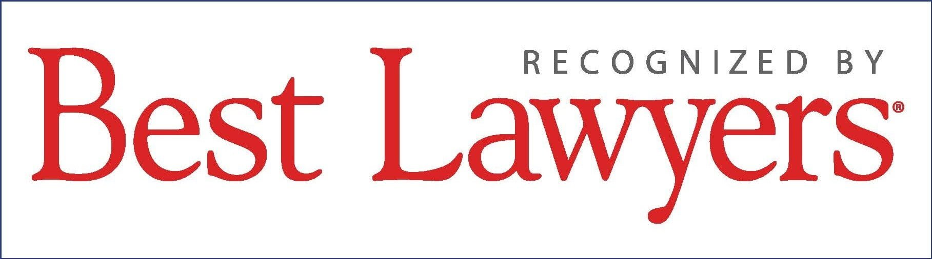 Best Lawyers Logo with colors of Gray and Big Red letters