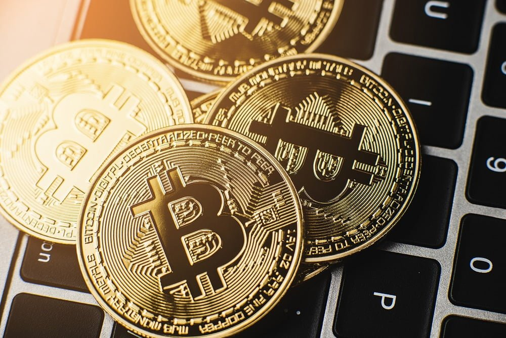 Picture of gold coins called Bitcoins