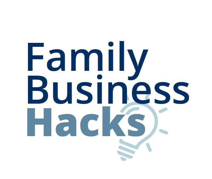 Family Business Hacks Logo- Family Business in dark blue color and Hacks in light blue color- light blue light bulb in the back