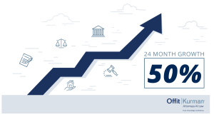 Growth infographic of a dark blue arrow point upwards and reads 24 month growth: 50%