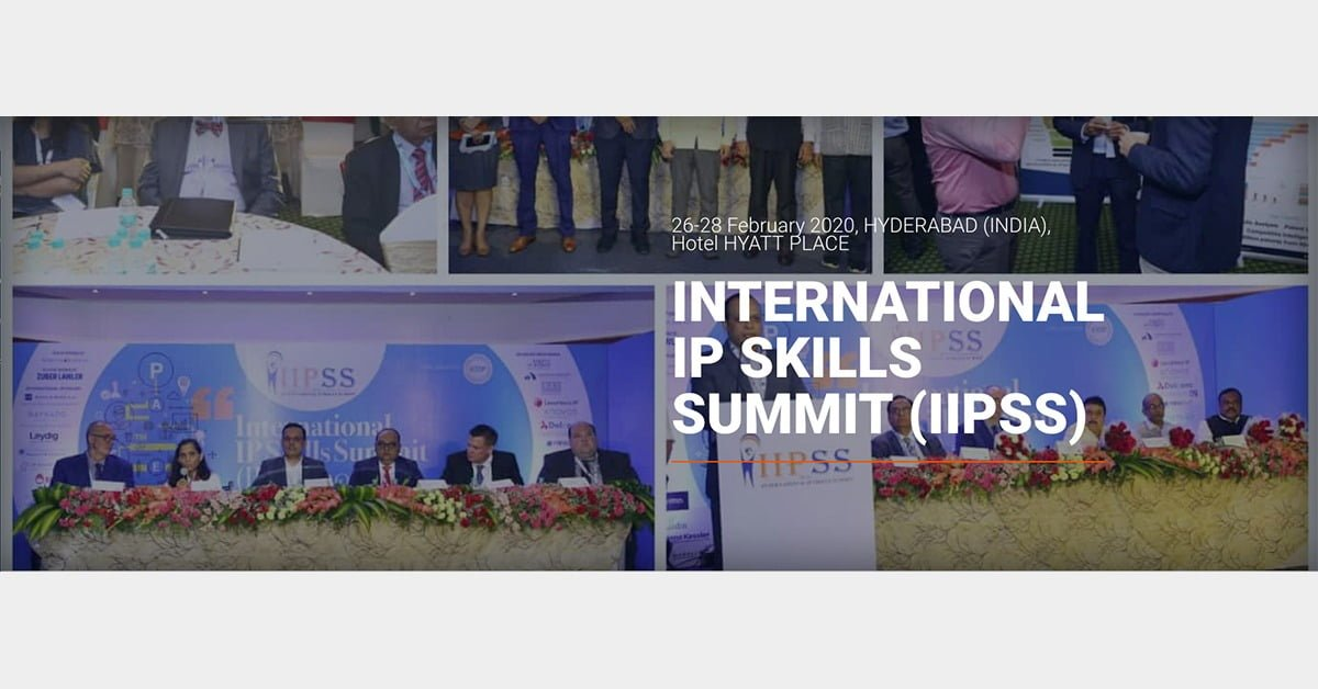 International IP Skills Summit logo with people speaking in the back