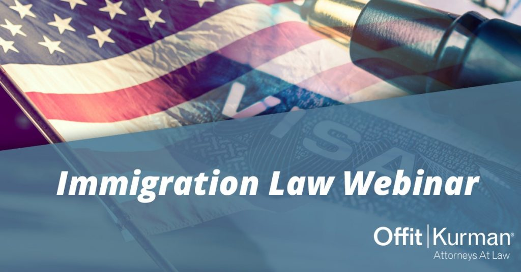 Immigration Law Webinar pic with American Flag in the background of the photo