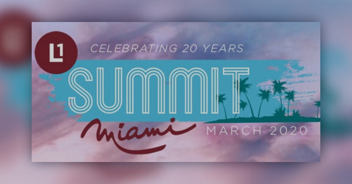 logo the reads; Celebrating 20 years Summit Miami on March 2020, colors are pink, red, purple, and blue. palm trees in the logo