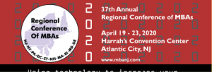 2020 Regional Conference of MBA's logo in dark red, black, and white colors