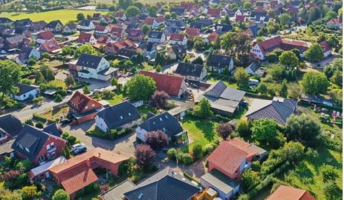 Birds eye view of a neighborhood on a sunny day