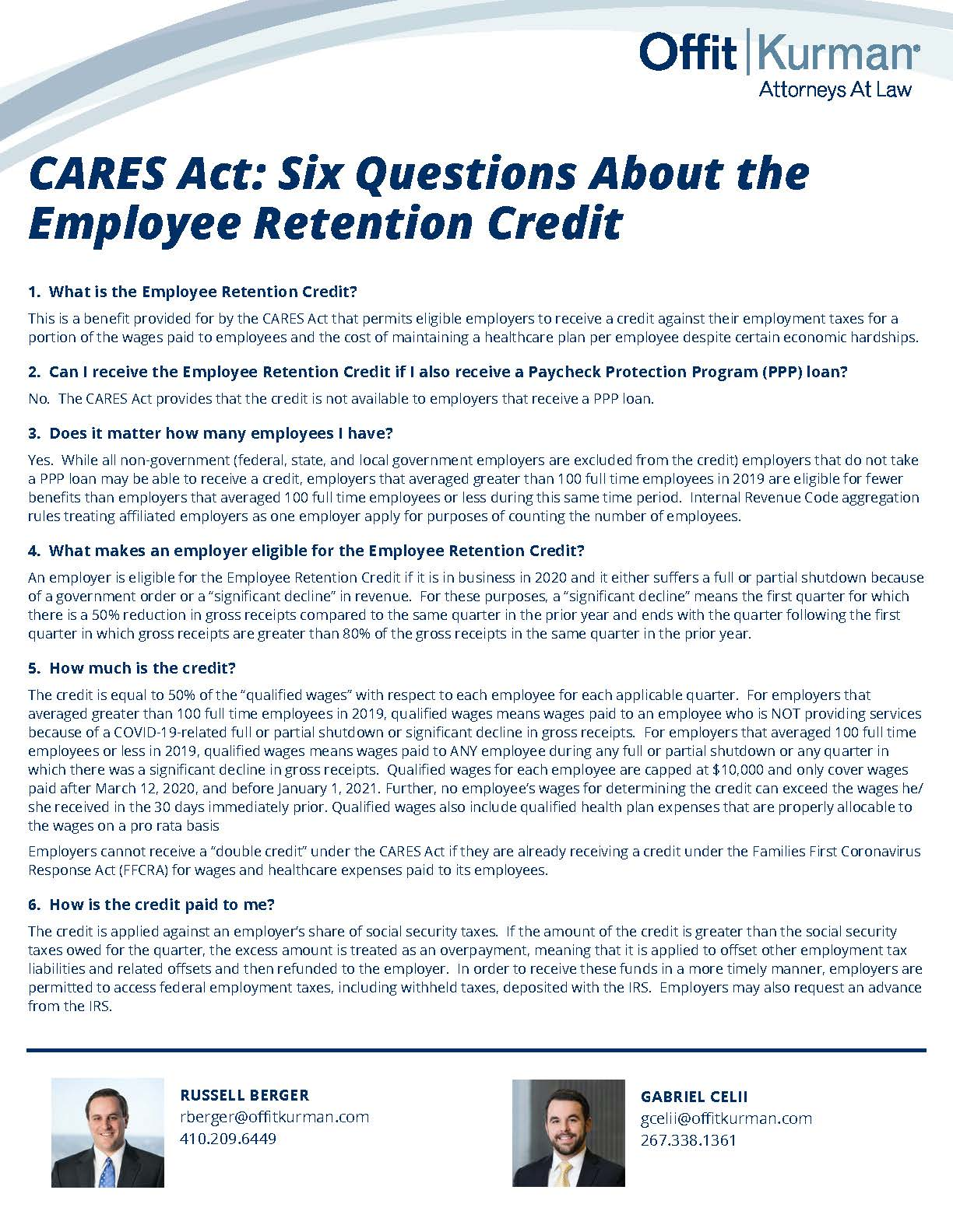Six Questions About the Employee Retention Credit-040820b