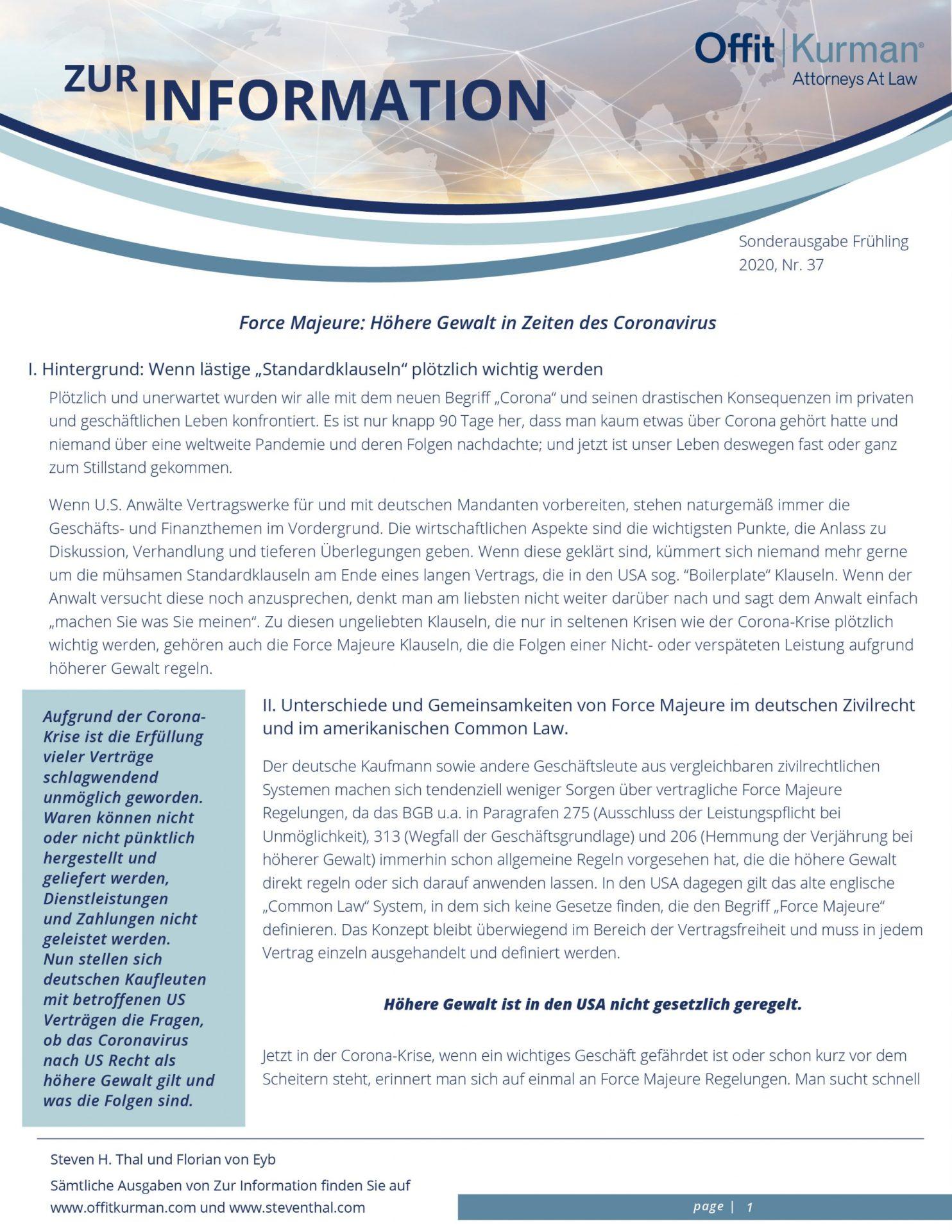 Sonderausgabe Zur Information - Force Majeure - Höhere Gewalt in Zeiten des Coronavirus