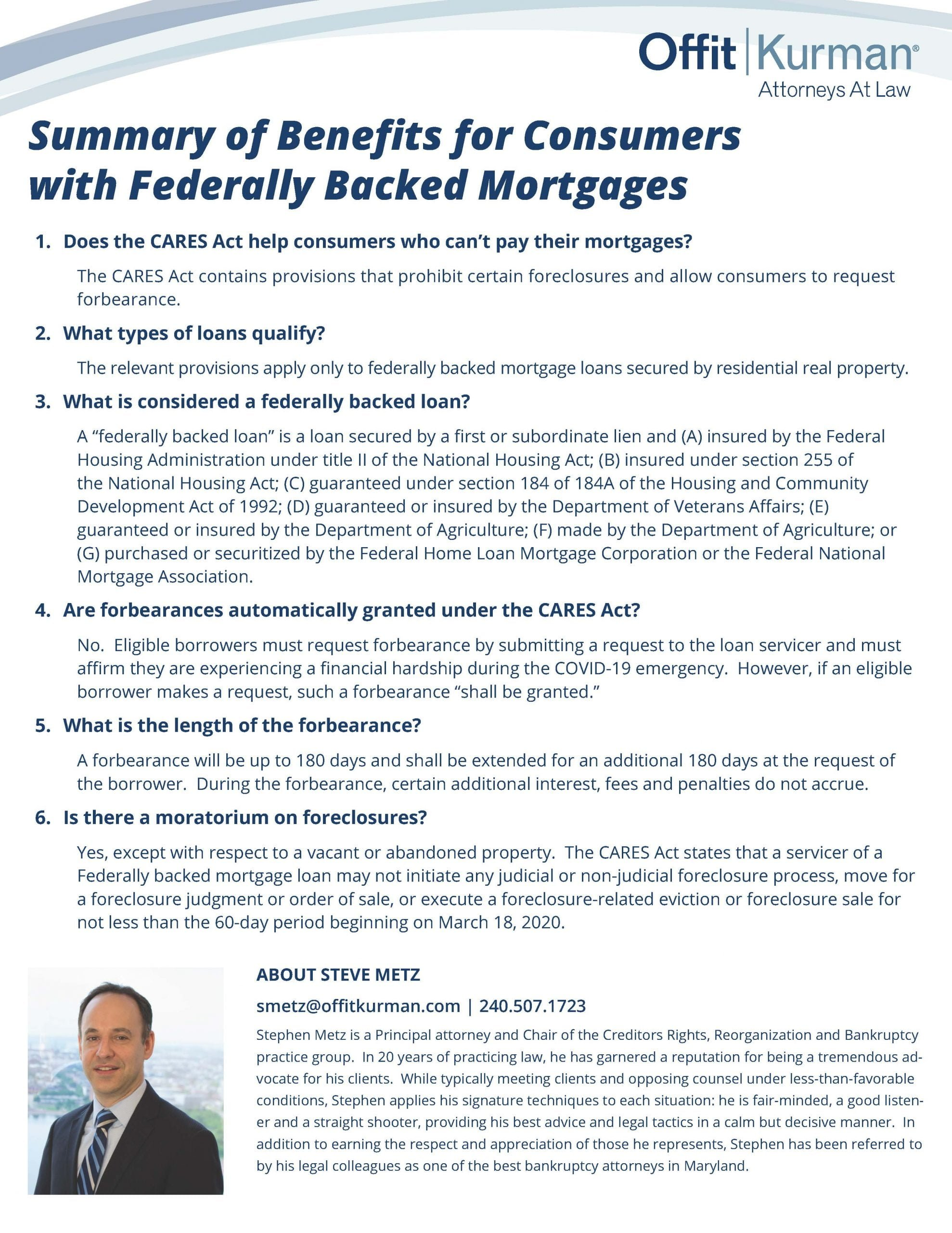 Summary of Benefits for Consumers with Federally Backed Mortgages-041420