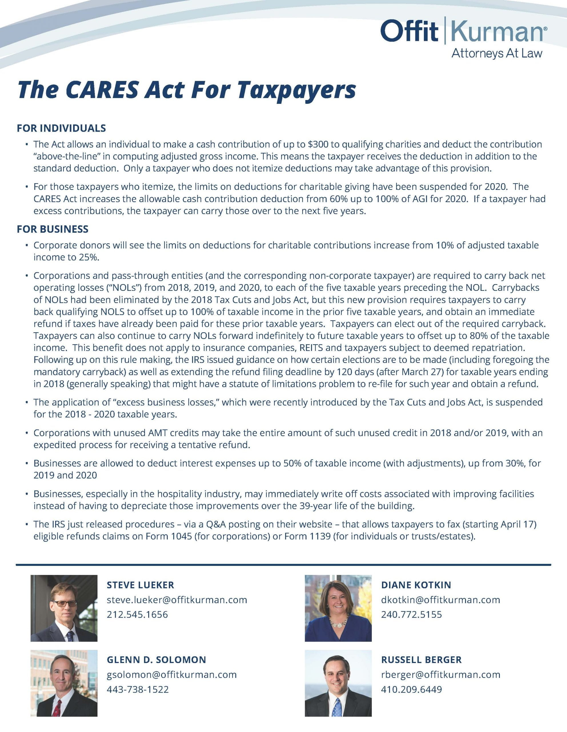 The CARES Act For Taxpayers-041520