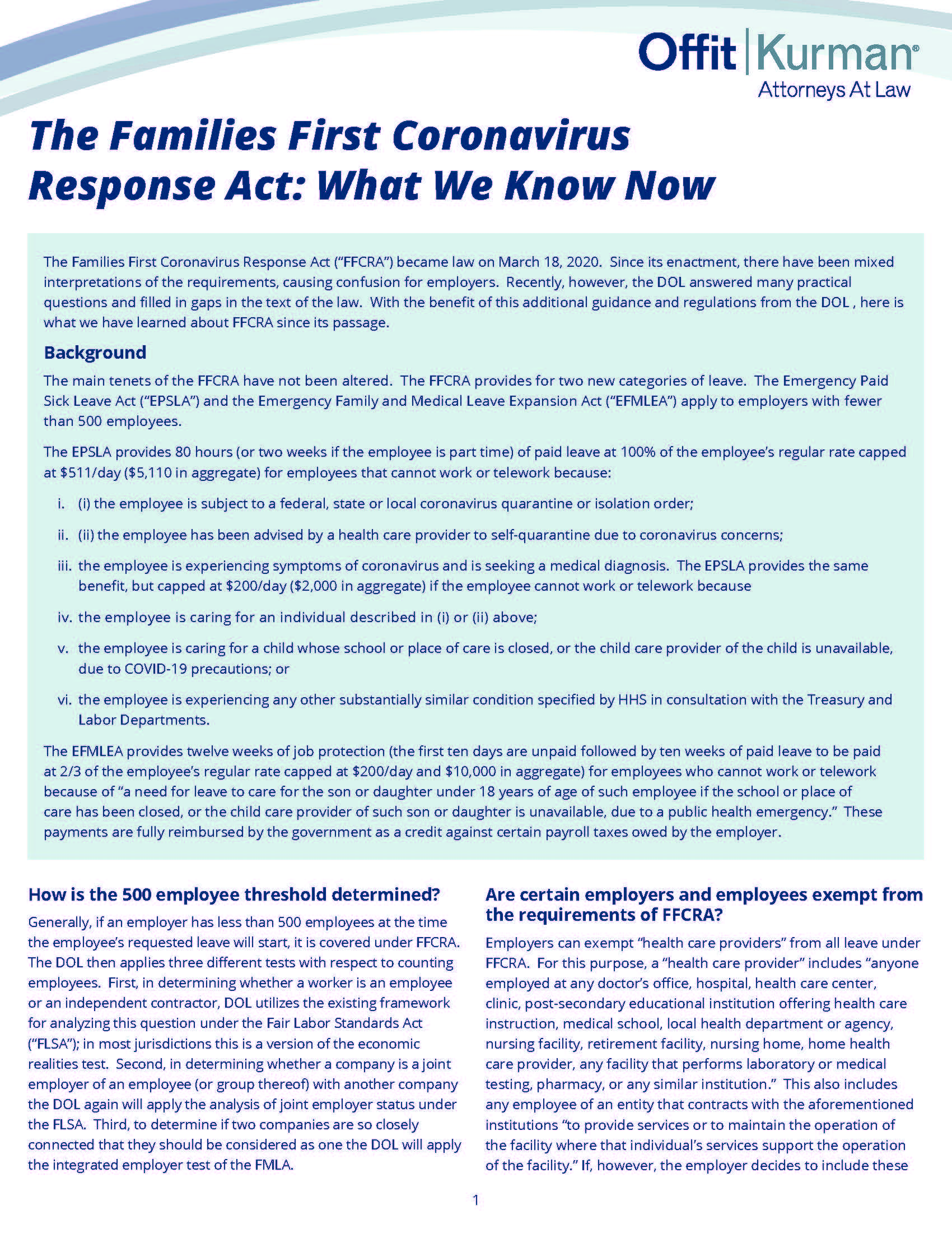 The FFCRA - What We Know Now