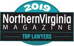 2019 Northern Virginia Magazine Top Lawyers badge: Colors are light blue, white, and black