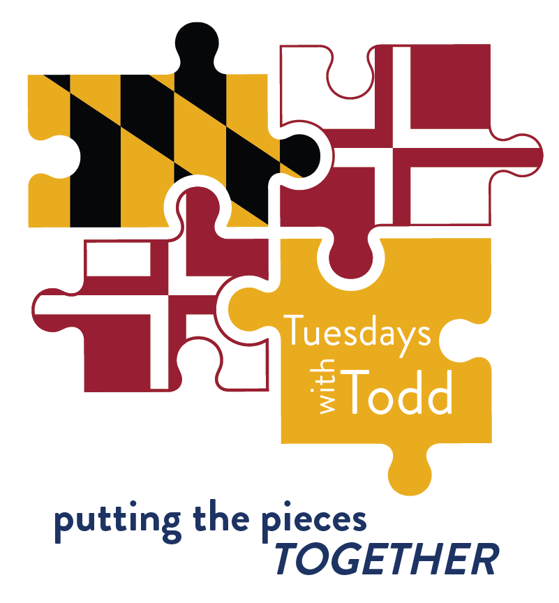 Maryland Flag colored puzzle pieces that reads Tesudays with Todd and below reads putting the pieces together in dark blue letters
