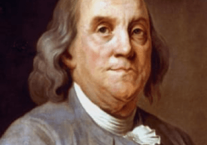 Painted image of Ben Franklin.