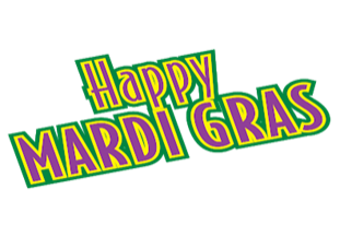 Picture Reads: Happy Mardi Gras in green, yellow, and purple colors