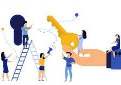 Key achievement business takeaway concept vector illustration success solution