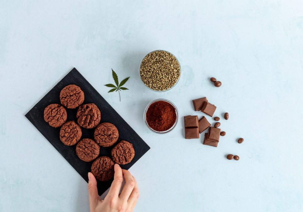 Cbd,Cookies,,Cannabis,Chocolate,,Cocoa,And,Hemp,Seed,On,Bright
