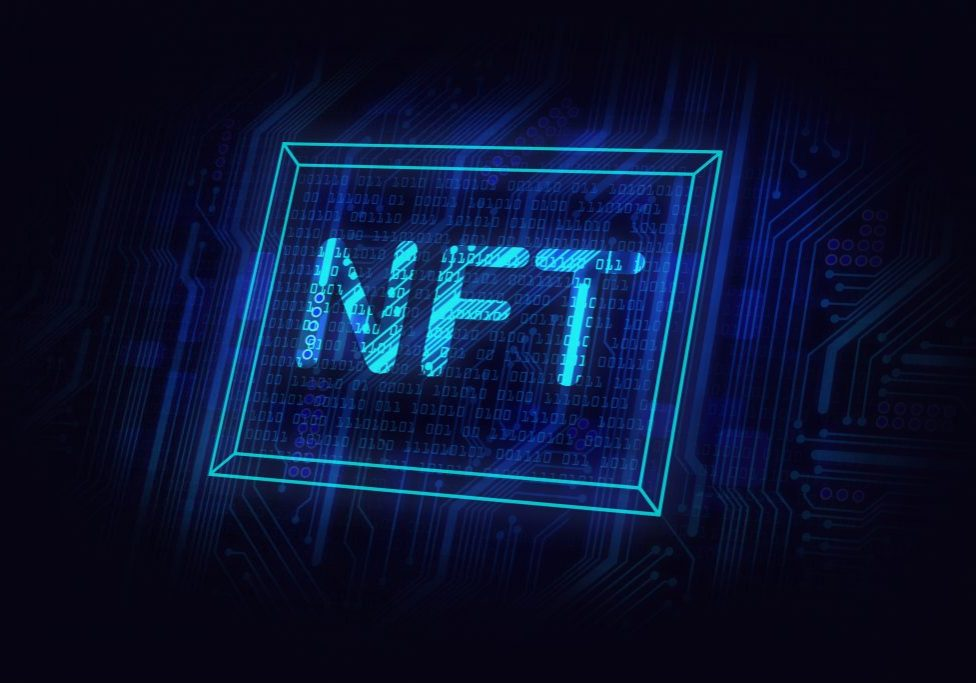 Non,Fungible,Tokens,Concept,,Nft,Neon,Sign-picture,On,Circuit,Board,