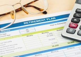 Retirement,Plan,With,Glasses,And,Calculator,,Document,Is,Mock-up
