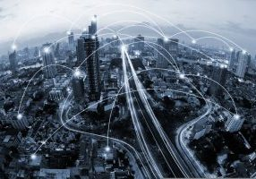 Blue,Tone,City,And,Network,Connection,Concept.communication.smart,City.internet,Of,Thing.bangkok