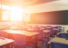 Back,To,School,Concept.,Classroom,In,Blur,Background,Without,Young