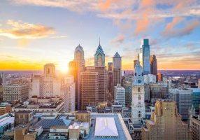 Skyline,Of,Downtown,Philadelphia,At,Sunset,Usa