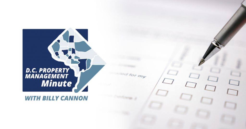 D.C. Property Management Minute with Billy Cannon logo in dark and light blue colors. Pen checking off check boxes to the right of the photo