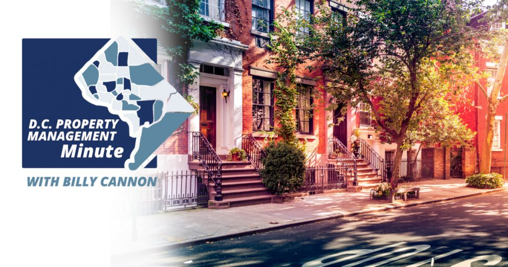 Graphic of the streets of a Washington, D.C. neighborhood presenting D.C. Property Management with Billy Cannon.