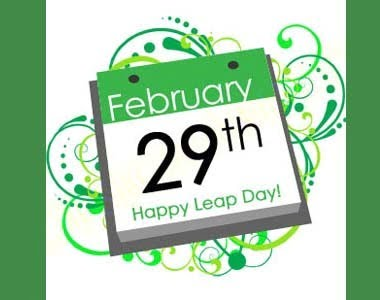 February 29th Happy Leap Year in green on a calendar picture