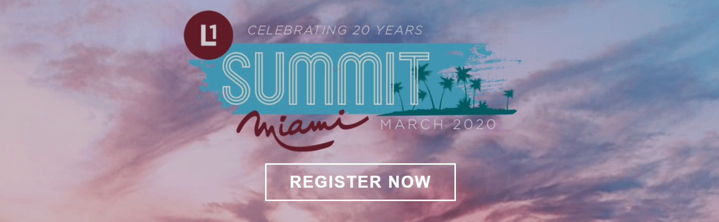 "Text reading ""Celebrating 20 years Miami Summit March 2020"" and also text reading ""Register now"""