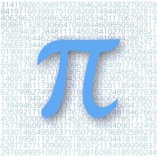 big blue pie symbol in front of the full equation of the pie numbers