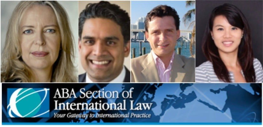 Headshots of four individuals, a woman with blonde hair, two men with dark brown hair, and a woman with dark brown hair, above the logo for the ABA Section of International Law
