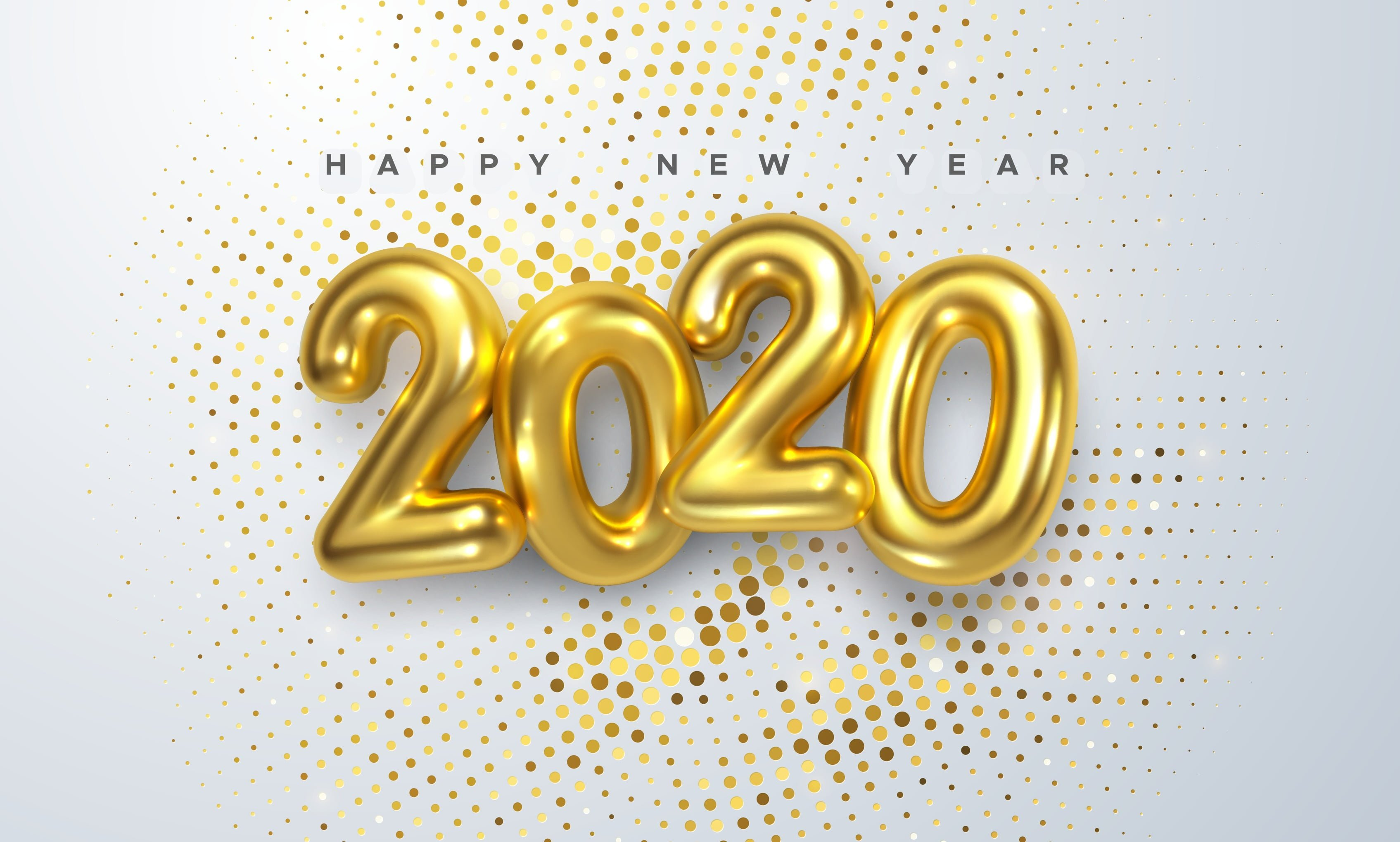 An animated graphic image that says Happy New Year 2020 with gold balloon letters.