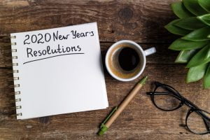 2020 new years resolutions with coffee, pencil, and glasses