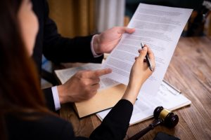 Businessman and Male lawyer or judge consult having team meeting with client,
