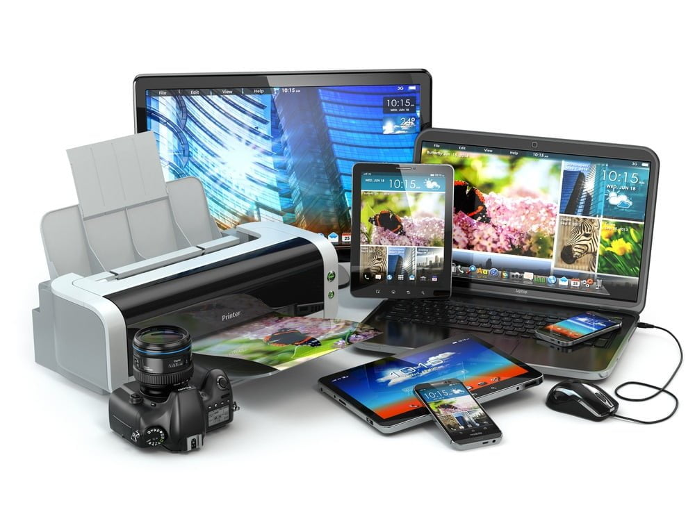 Electronic products together including a printer, camera, phones, tablets and computers.