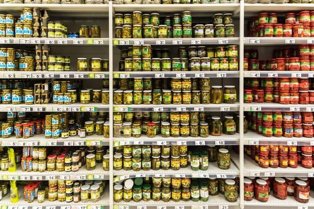Pickles Jars On Supermarket Stand