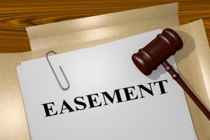 "3D illustration of ""EASEMENT"" title on legal document"