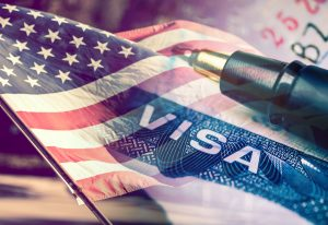 United States of America Visa Document, with USA flag in the background. P