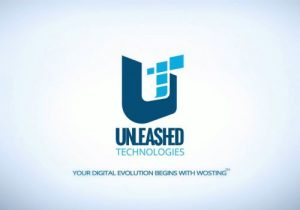 Words: Unleashed Technologies in blue and light blue colors. Medium sides T on top of a big U